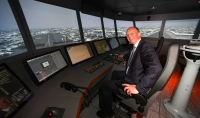 Sir Michael Bibby Bt., DL, president of the UK Chamber of Shipping, visiting the simulation centre last week