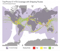 TracPhone V7-HTS coverage map with shipping routes. Image courtesy of KVH Industries.
