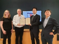 L-R: Joanne Pauline CCSO, Songa Shipmanagement; Kenneth MacLeod, CEO Songa Shipmanagement; Jeoungkyu Lim and Kaemyoung Park, team leader from KR's Cyber Certification Team