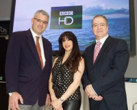 (l-r) Travis Peterson, Global Eagle Entertainment; Zina Neophytou, BBC Worldwide; and Graham Douglas, Carnival UK