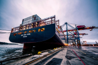 Container ship in port. Image courtesy of Pexels.
