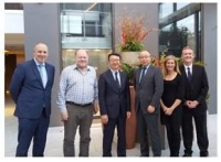 Left to right: Simon Harrison, GNS operations director, Phil Stothard, GNS chief information officer, Kamoshita Toshiyuki, GNS CEO, Sarumaru Yasuhito, Cornes CFO, Hayley van Leeuwen, GNS marketing and product director, Kieron Abernethy, GNS chief revenue officer